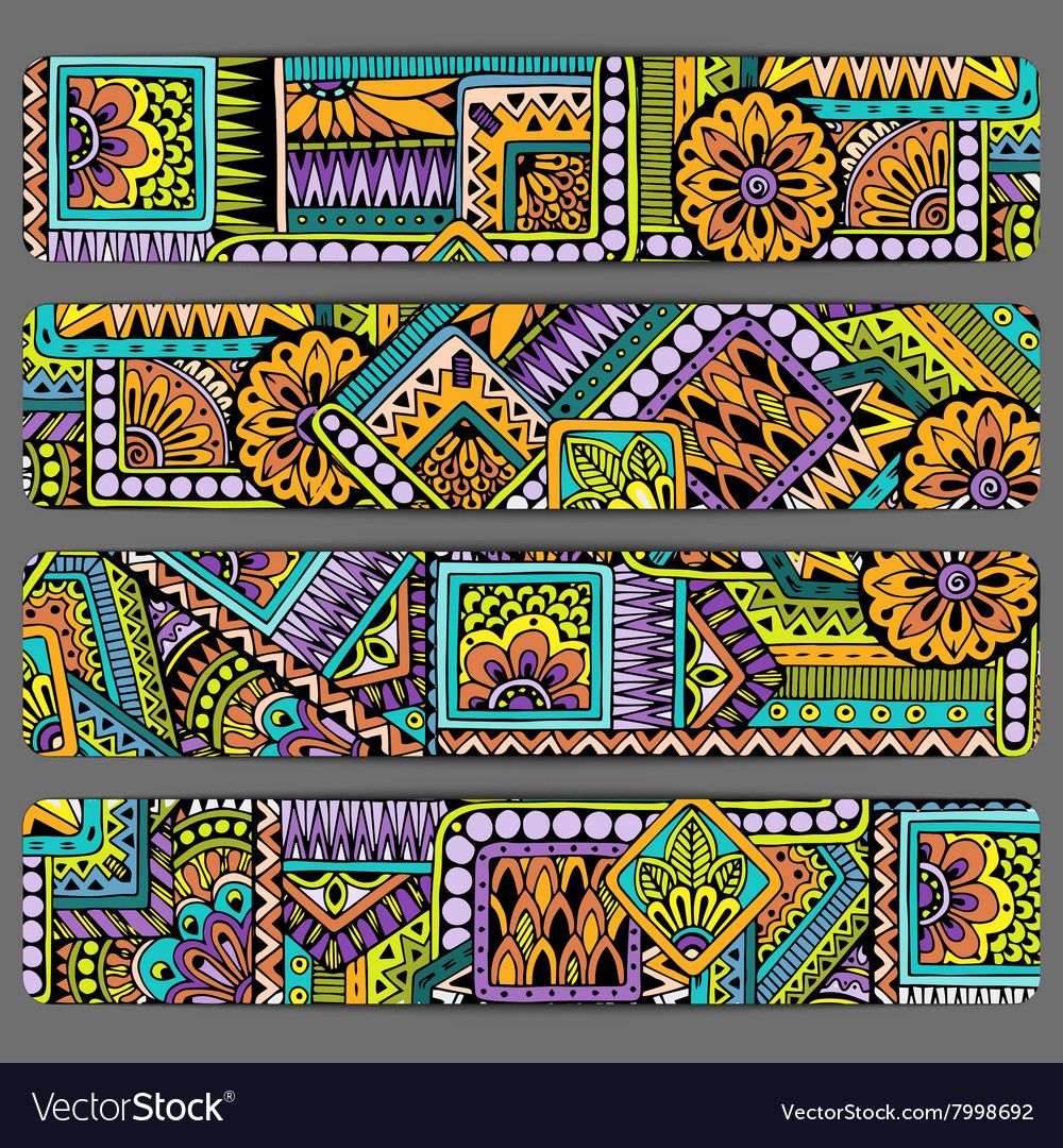 Abstract ethnic pattern card set template vector