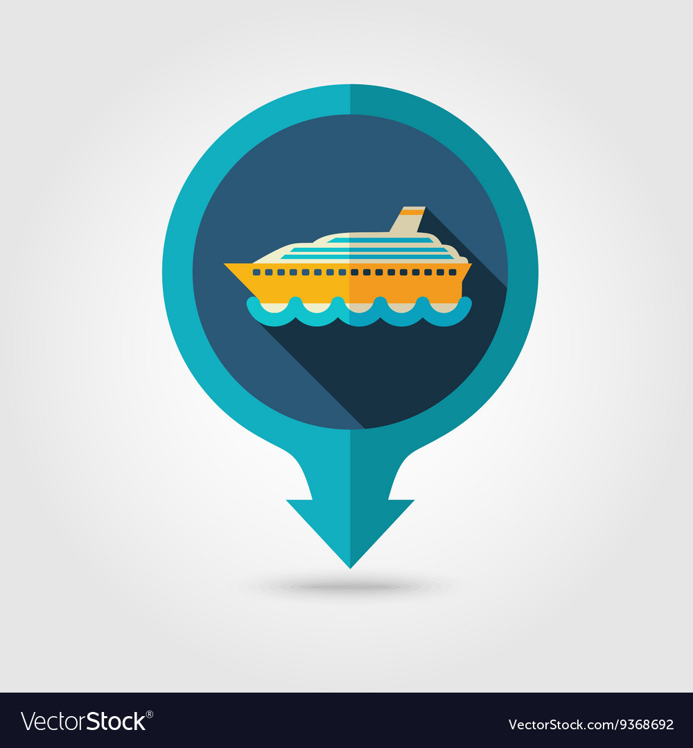 Cruise liner pin map flat icon summer vacation vector