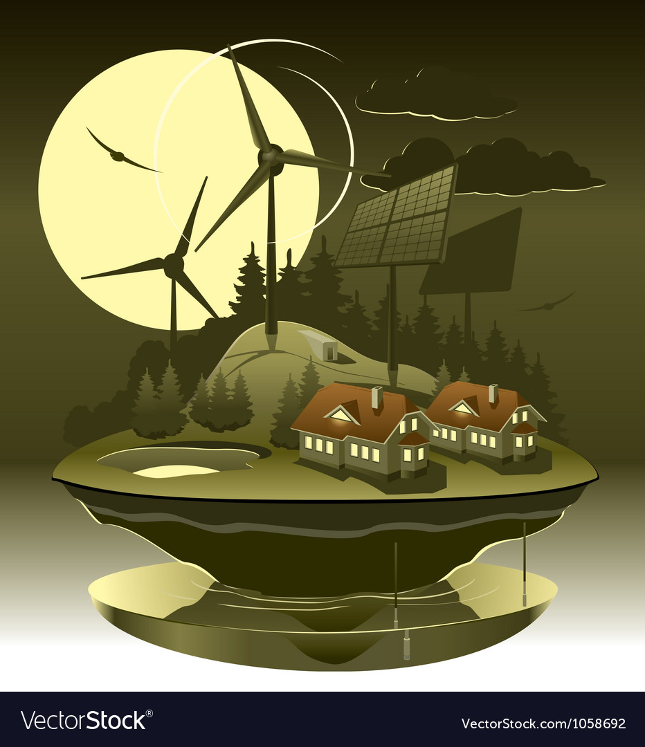 Eco village night vector