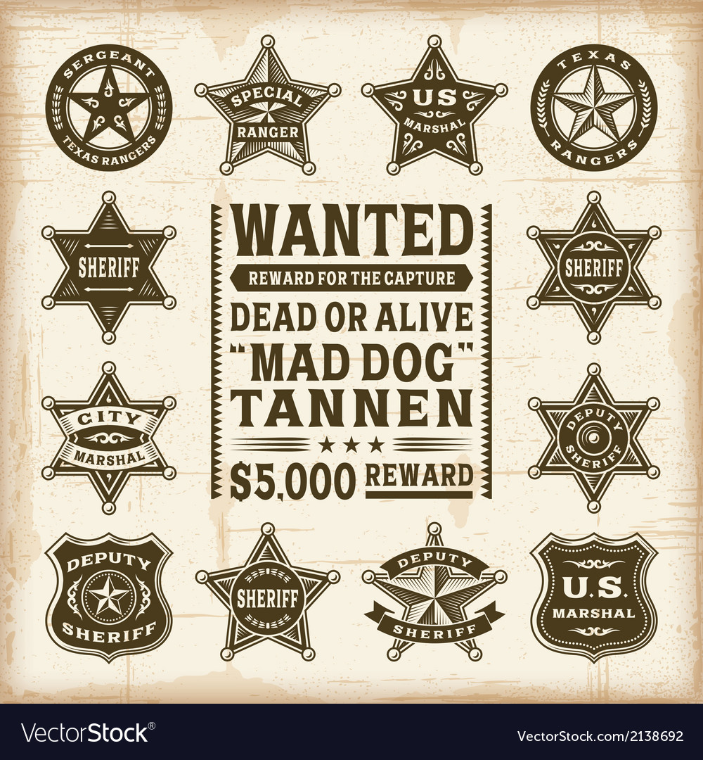 Vintage sheriff marshal and ranger badges set vector