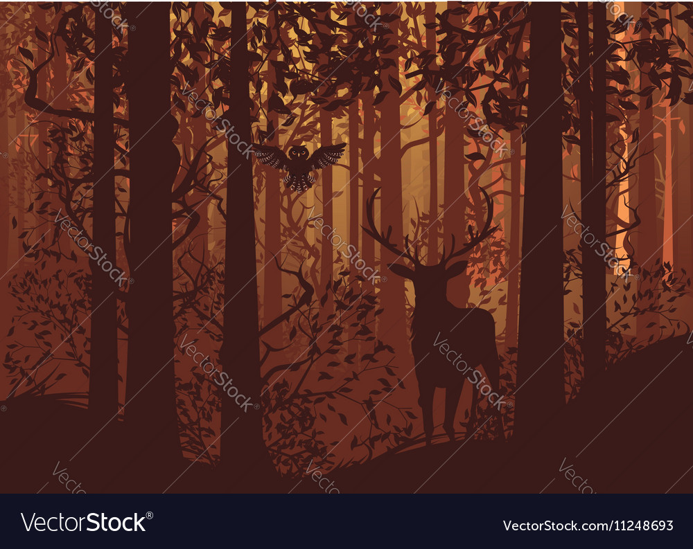 Autumn forest landscape and deer2 vector