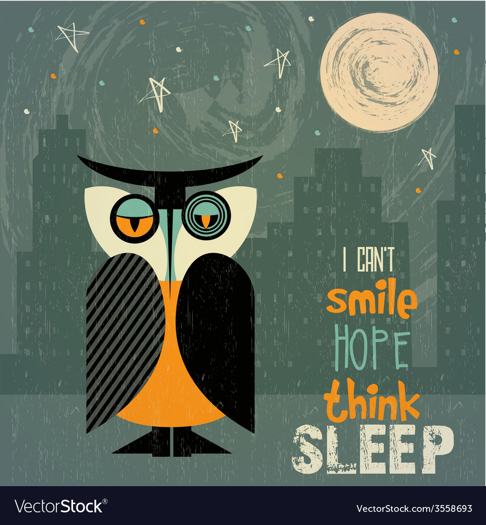 Owl with insomnia vector