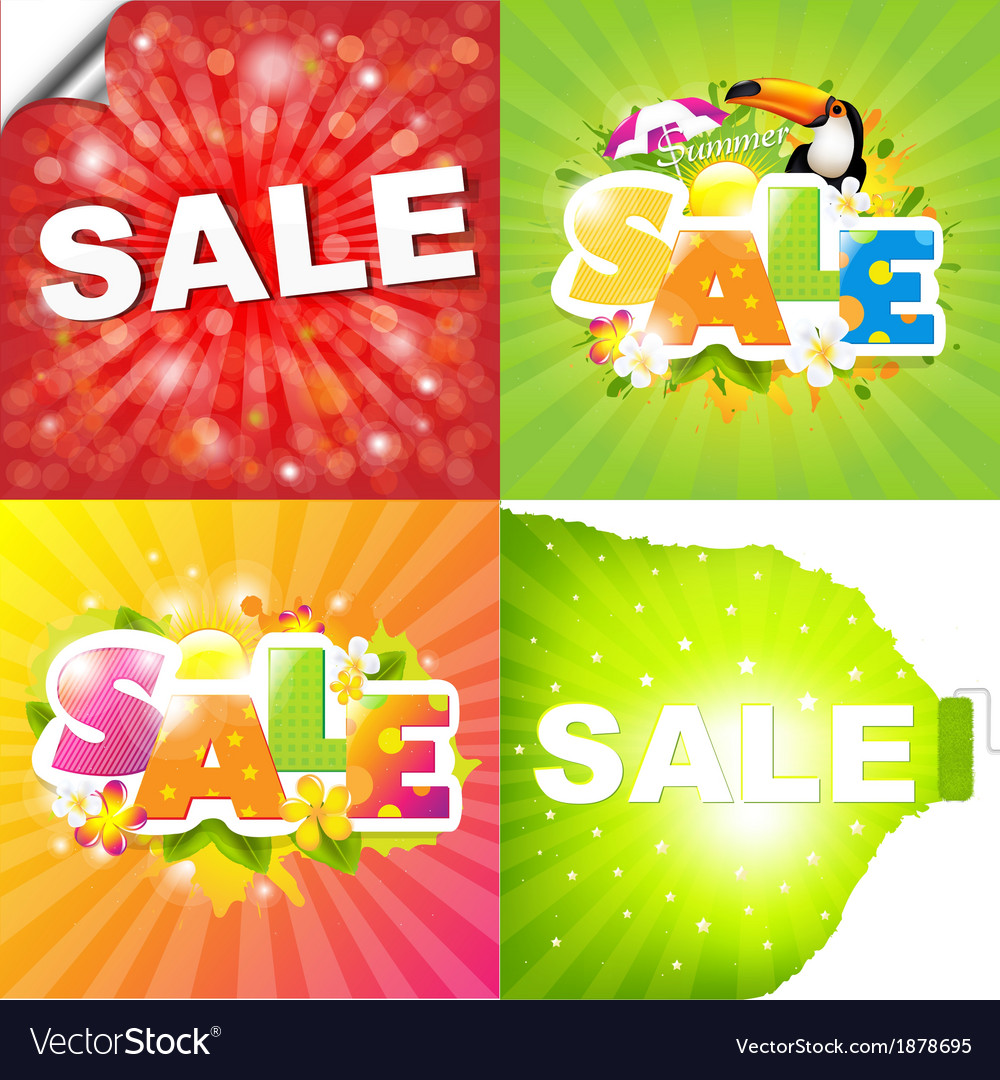 Colorful sale posters vector
