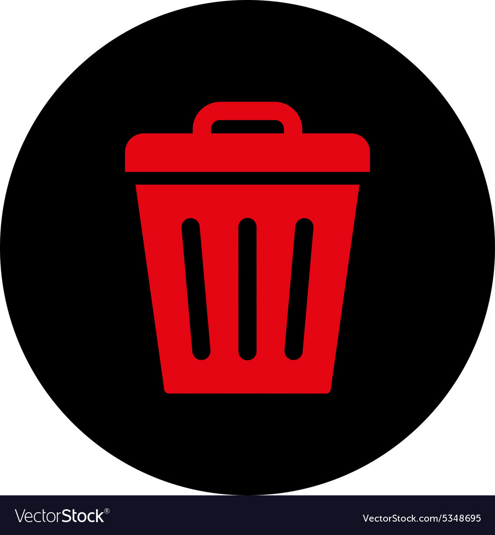 Trash can flat intensive red and black colors vector