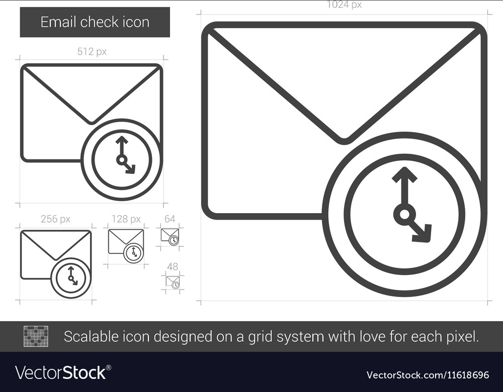 Email check line icon vector