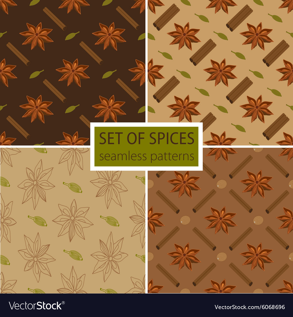 Set of four spicy seamless patterns vector