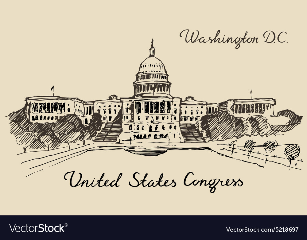 United states capital hill capitol washington dc vector