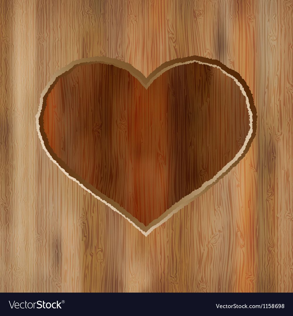 Grunge heart carved into wooden plank eps8 vector
