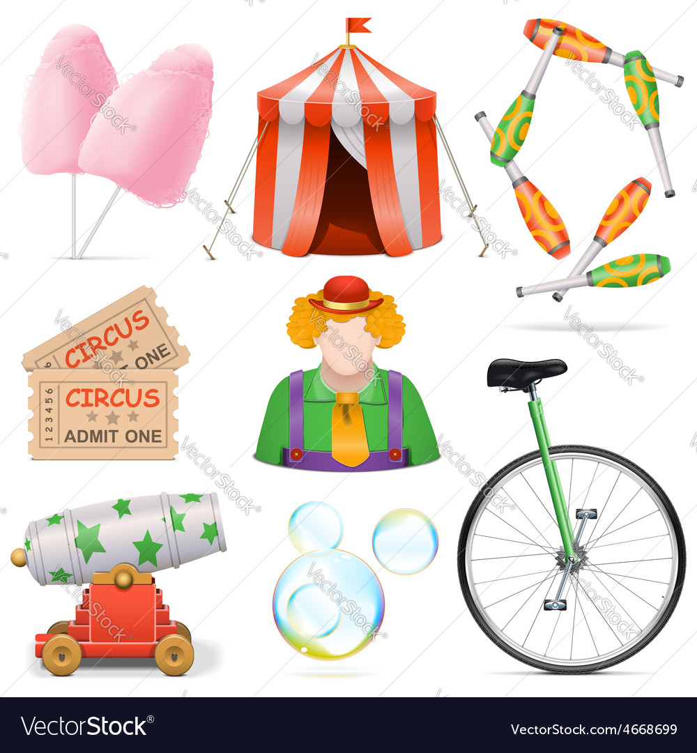 Circus icons vector