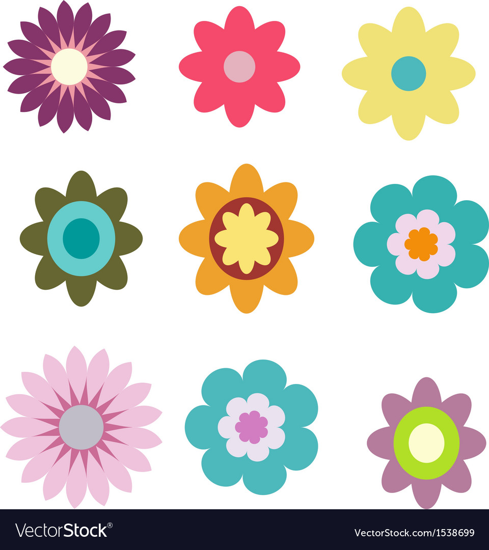 Flower clipart flower clip art retro flowers vector