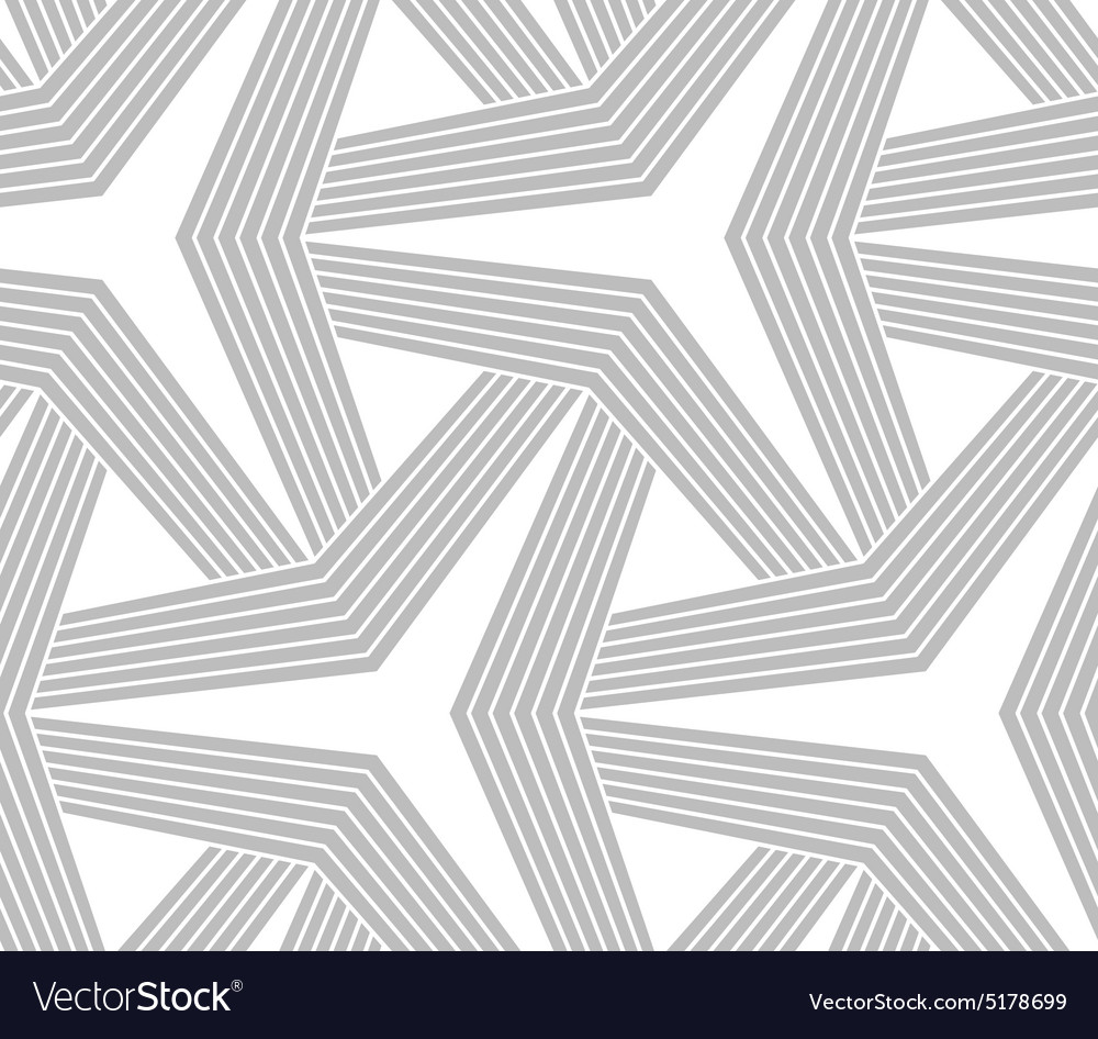Monochrome striped three ray stars vector