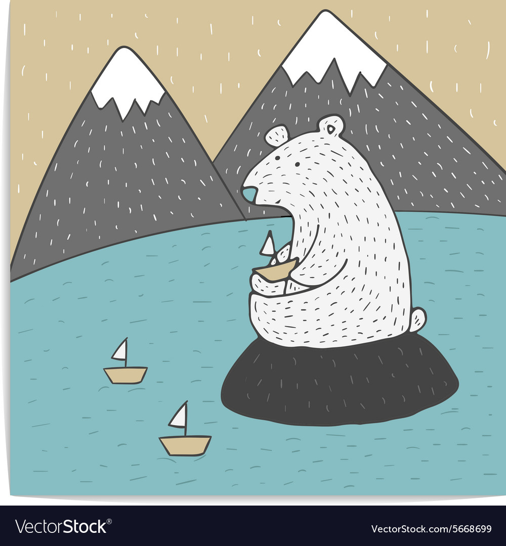 Polar bear who let little boats vector