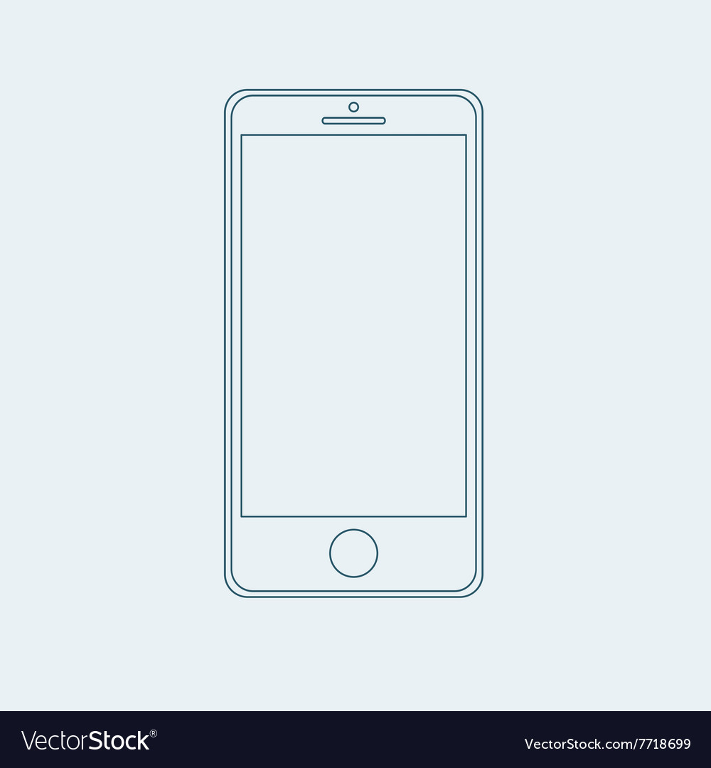 Smartphone outline icon in iphone style eps vector
