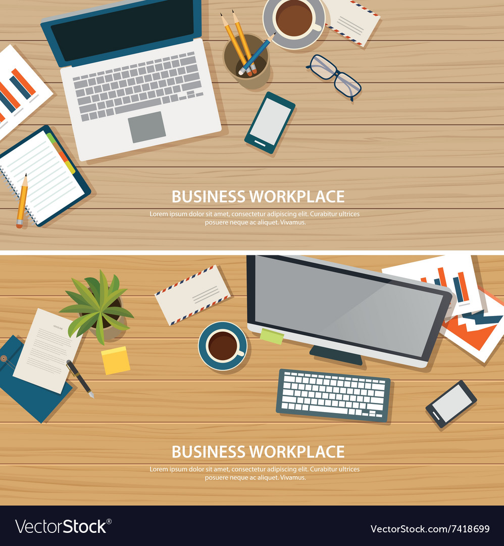 Top view office workplace on wood table vector