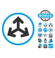 Direction Variants Flat Icon with Bonus vector image