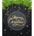 Christmas background with golden inscription vector image vector image