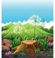 A stump near the mountains vector image vector image