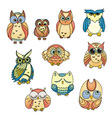 Doodle owls set bird collection vector image