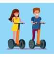 guy and girl ride electric scooter vector image