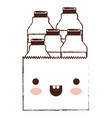 kawaii paper bag with milk bottles in brown vector image