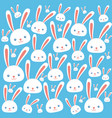 set of sweet and happy easter rabbits for holidays vector image