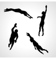 Swimmers  Set of Silhouettes Sport vector image