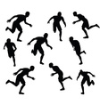 soccer player silhouette in black vector image