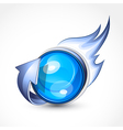 blue ball with flames vector image vector image