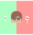 Cartoon doodle businessman are thinking Yes and No vector image