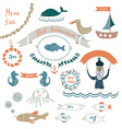 Fish restaurant invitation or menu elements - vector image