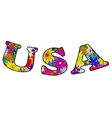 Letters USA made of flowers vector image