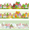 seamless border with cartoon houses and trees for vector image