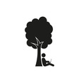 silhouette of man under a tree stick figure vector image