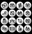 16 wedding icon set vector image