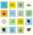 set of 16 eco icons includes pin earth save vector image