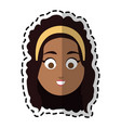 happy dark skin young pretty woman cartoon icon vector image