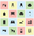 set of 16 editable furniture icons includes vector image