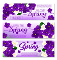 welcome spring floral banner with flower bouquet vector image
