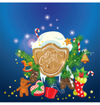 Card with xmas gifts and presents gingerbread cand vector image vector image