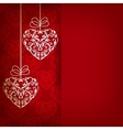 Card with ornament with hearts vector image