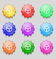 Steering wheel icon sign Symbols on nine wavy vector image