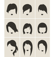Set of woman hair silhouette vector image vector image