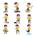 bad boy with crazy hair having fun playing games vector image