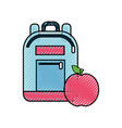 bag study tool with apple fruit vector image