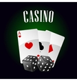 Casino icon with playing cards and dice vector image