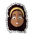 happy dark skin young pretty woman cartoon icon vector image
