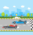 cartoon car racing sport professional competition vector image