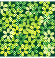 Seamless pattern with green dotted flowers vector image