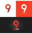 Number nine 9 logo design icon set background vector