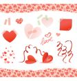 valentine elements red vector image